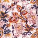 Voile de coton indien - fleur cachemire jaune/bleu fond blanc cassé