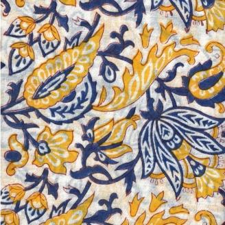 Voile de coton indien - feuillage jaune/bleu fond blanc cassé