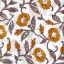 Voile de coton indien - fleur ocre fond blanc cassé