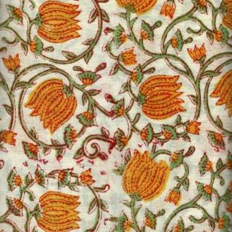 Voile de coton indien - fleurs jaunes et tige vertes fond écru