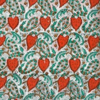Voile de coton indien - cachemire orange et vert fond blanc cassé