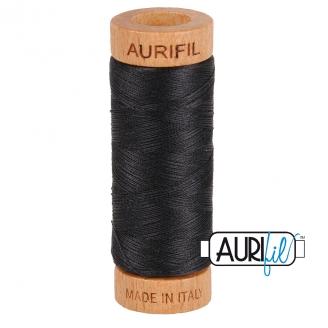 Fil de coton Mako 80 Aurifil - Noir réglisse 4241