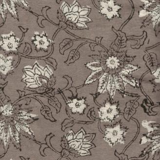 Voile de coton indien - fleurs taupe