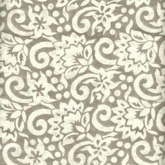 Voile de coton indien - fleurs blanches fond taupe