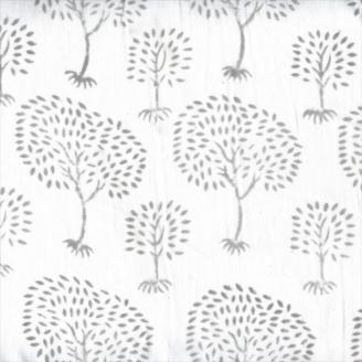 Voile de coton indien - arbres taupe fond écru