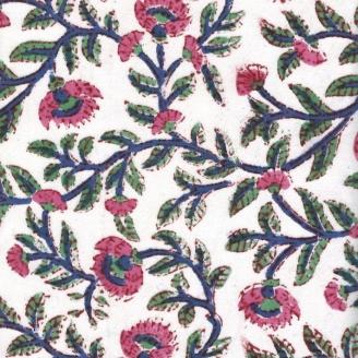 Voile de coton indien - plante grimpante rose et bleu fond écru