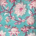 Voile de coton indien - plante grimpante rose et écru fond jade