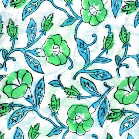 Voile de coton indien - passiflore verte et bleue fond écru