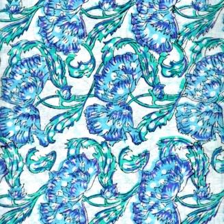 Voile de coton indien - fleur turquoise bleu violet fond écru