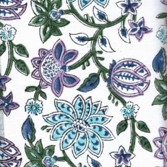 Voile de coton indien - plante grimpante bleue et violette fond écru