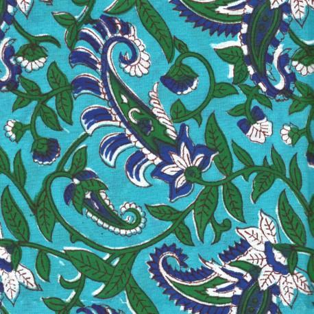 Voile de coton indien - plante grimpante bleue et verte fond turquoise
