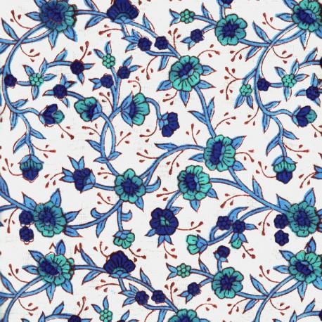 Voile de coton indien - fleur grimpante bleue et turqoise fond écru