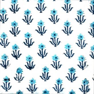 Voile de coton indien - fleur bleue fond écru