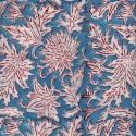 Voile de coton indien - fleur blanche et rouge fond bleu