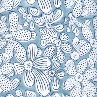 Voile de coton indien - fleur blanche fond bleu gris