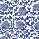Voile de coton indien - fleur taupe et bleue fond écru