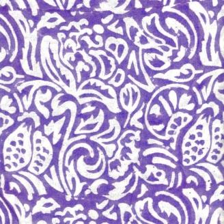 Voile de coton indien - feuillage blanc fond violet