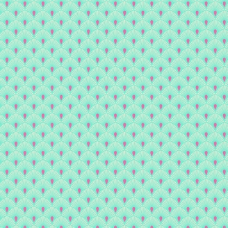 Tissu patchwork Tula Pink éventails turquoise Serenity  – Pinkerville