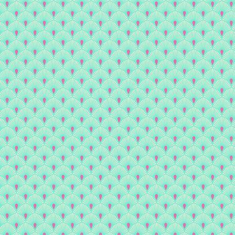 Tissu patchwork Tula Pink éventails turquoise Serenity  – Pinkerville