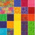 Charm pack de tissus batiks multicolores Rio