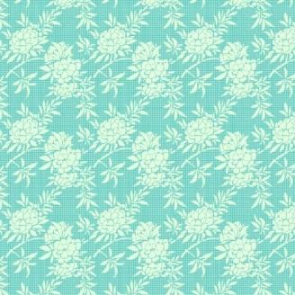 Tissu Tilda flower bush Teal fleur fond turquoise - The Harvest