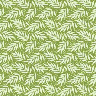 Tissu Tilda Berry Leaf Sage fond vert - Cottage