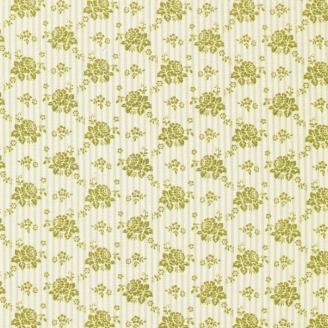Tissu Tilda fleurs rayées vertes Emily Green