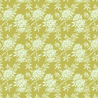Tissu Tilda flower bush green fond vert