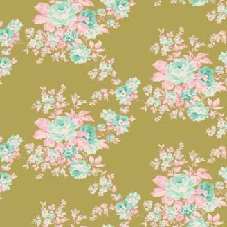 Tissu Tilda bouquet fond vert olive Autumn rose