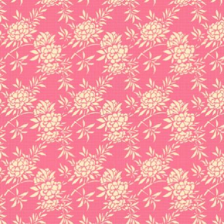 Tissu Tilda flower bush pink fond rose