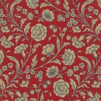Tissu patchwork fleur beige fond rouge - Vive la France de French General