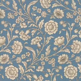 Tissu patchwork fleur beige fond bleu - Vive la France de French General