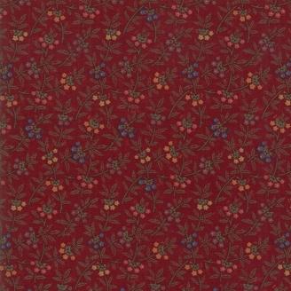 Tissu patchwork fleurs colorées fond bordeaux - On Meadowlark Pond