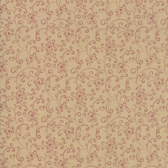 Tissu patchwork fines arabesques bordeaux fond beige - On Meadowlark Pond