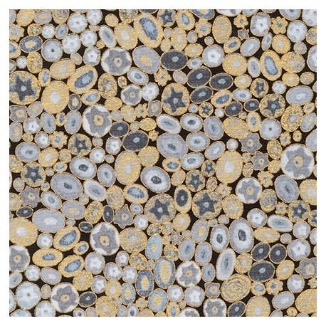 Tissu Gustav Klimt Millefiori gris