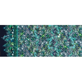 Tissu patchwork bulles vertes fond marine Ocean  - Effervescence