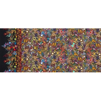 Tissu patchwork bulles multicolores fond noir Jewel - Effervescence