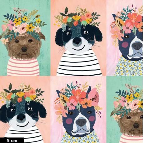 Tissu patchwork portraits de chiens Floral pets (30 cm)