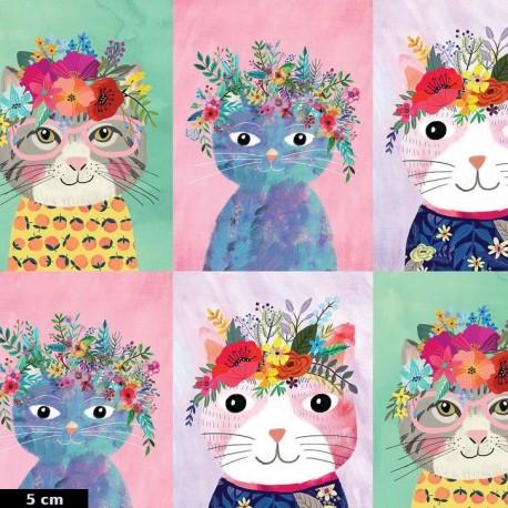 Tissu patchwork portraits de chats Floral pets (30 cm)
