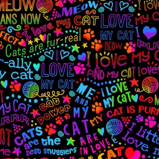 Tissu patchwork écritures I love my cat multico fond noir