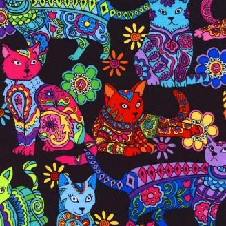 Tissu patchwork chats seventies fond noir
