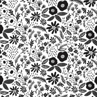 Tissu patchwork brassée de fleurs noires fond blanc - Juniper