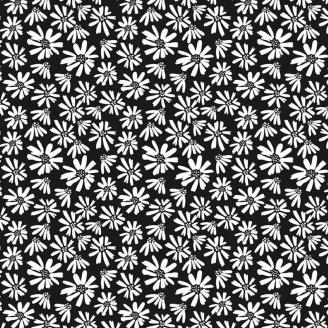 Tissu patchwork marguerites blanches fond noir - Juniper