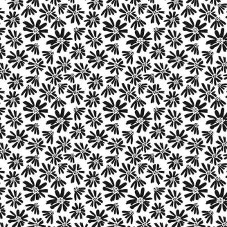Tissu patchwork marguerites noires fond blanc - Juniper