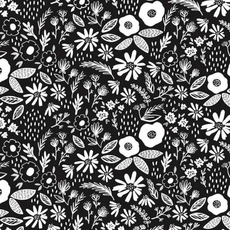 Tissu patchwork brassée de fleurs blanches fond noir - Juniper