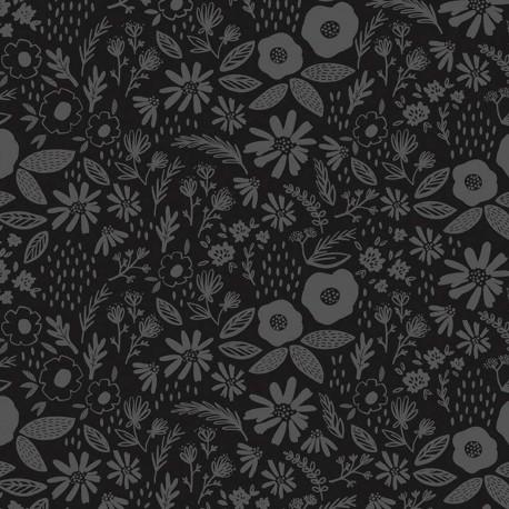 Tissu patchwork brassée de fleurs gris métallisé fond noir - Juniper
