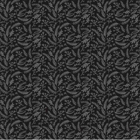 Tissu patchwork fougères gris métallisé fond noir - Juniper