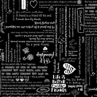 Tissu patchwork écritures friends fond noir - Be Mindful