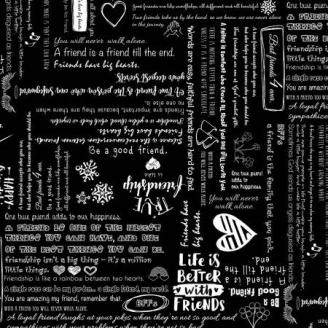 Tissu patchwork écritures friends fond noir - Be Mindful