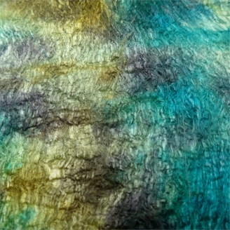 Feuille en fibres de cocons de soie multico vert